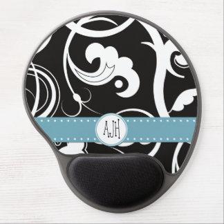 Monogram - Swirled Pattern, Swirly Style - Black Gel Mouse Pad