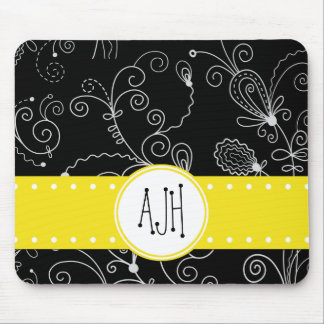 Monogram - Swirled Pattern, Swirly Style - Black Mouse Pad