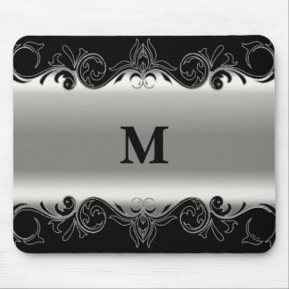 Monogram Swirly Black and Silver Design Mouse Pad