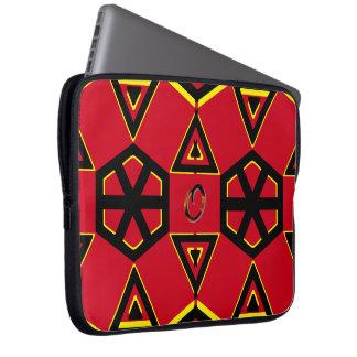 Monogram & Symbols over Red Laptop Sleeve
