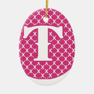 Monogram T Ceramic Ornament