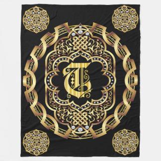 Monogram T CUSTOMIZE To Change Background Color Fleece Blanket