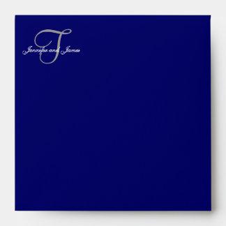 Monogram T Navy Save the Date Envelopes