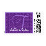 Monogram T Royal Purple Damask Ver B020 Postage Stamps