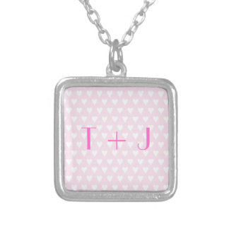 Monogram T sweethearts initials pink love hearts Square Pendant Necklace