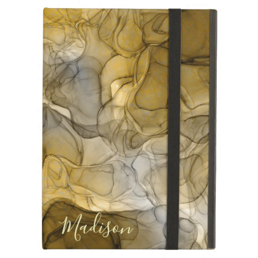 Monogram tan grey marbling dreams case for iPad air