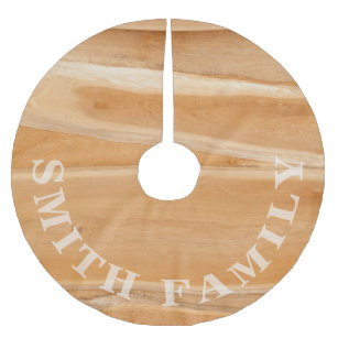 monogram tan natural wood panel pattern brushed polyester tree skirt