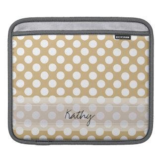 Monogram Tan White Cute Chic Polka Dot Pattern Sleeve For iPads