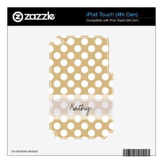 Monogram Tan White Cute Chic Polka Dot Pattern iPod Touch 4G Skins