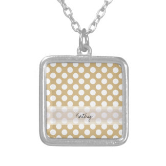 Monogram Tan White Cute Chic Polka Dot Pattern Silver Plated Necklace