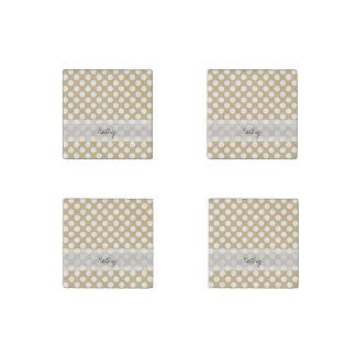Monogram Tan White Cute Chic Polka Dot Pattern Stone Magnet