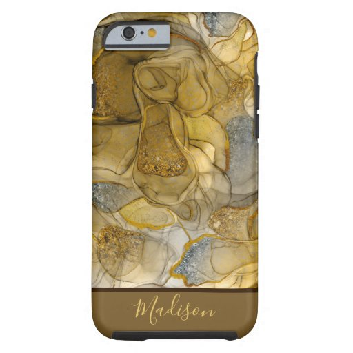 Monogram tan yellow sparkle dreams iPhone case