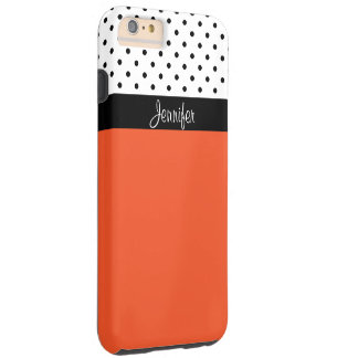 Monogram Tangerine T, Black White Dots Color Block Tough iPhone 6 Plus Case