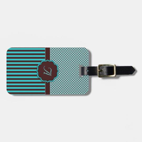 Monogram Tartan, Light Teal and Chocolate Brown Bag Tag