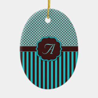 Monogram Tartan, Lt Teal Choc Brown Ornament Ornaments