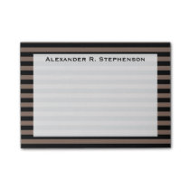 Monogram Taupe Brown and Black Stripe Post-it Notes