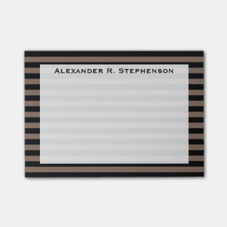 Monogram Taupe Brown and Black Stripe Post-it® Notes