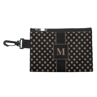 Monogram Taupe Brown on Black Polka Dots Accessory Bag
