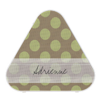 Monogram Taupe Olive Green Chic Polka Dot Pattern Bluetooth Speaker