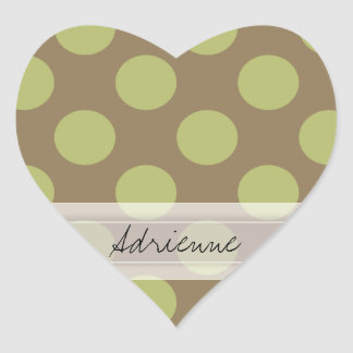 Monogram Taupe Olive Green Chic Polka Dot Pattern Heart Sticker