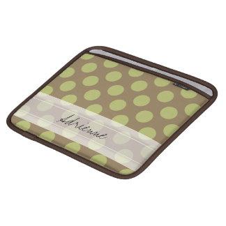 Monogram Taupe Olive Green Chic Polka Dot Pattern iPad Sleeve