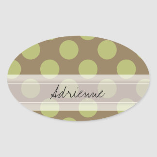 Monogram Taupe Olive Green Chic Polka Dot Pattern Oval Sticker