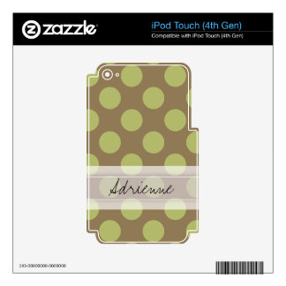 Monogram Taupe Olive Green Chic Polka Dot Pattern Skins For iPod Touch 4G