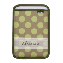 Monogram Taupe Olive Green Chic Polka Dot Pattern Sleeve For iPad Mini