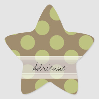 Monogram Taupe Olive Green Chic Polka Dot Pattern Star Sticker