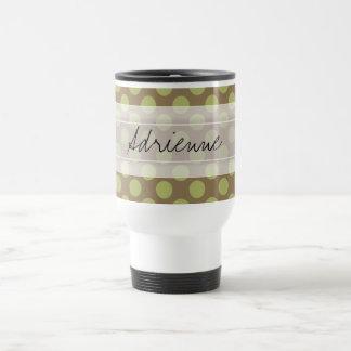 Monogram Taupe Olive Green Chic Polka Dot Pattern Travel Mug