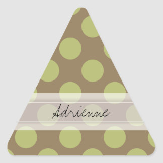 Monogram Taupe Olive Green Chic Polka Dot Pattern Triangle Sticker
