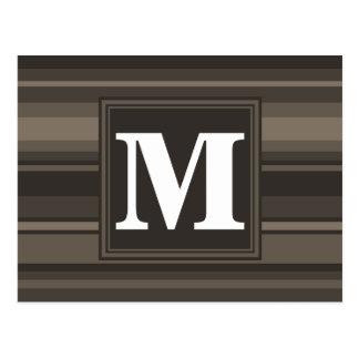 Monogram taupe stripes postcard