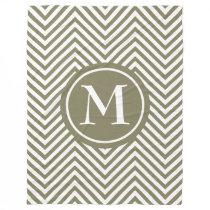 Monogram Taupe & White Zigzag-Fleece Blanket #1