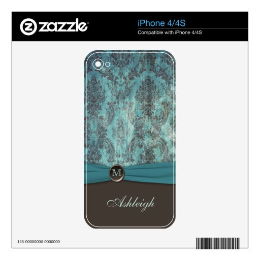 Monogram Teal and Brown Damask iPhone 4/4s Skin Skins For iPhone 4S