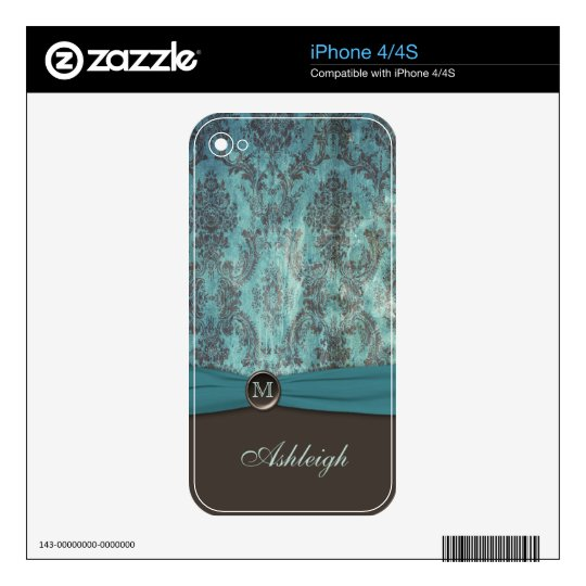 Monogram Teal and Brown Damask iPhone 4/4s Skin iPhone 4S Skin