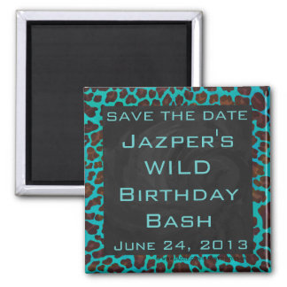 Monogram Teal and Brown Leopard 2 Inch Square Magnet