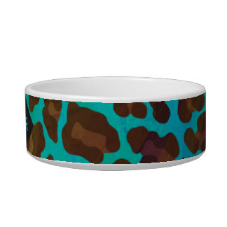 Monogram Teal and Brown Leopard Bowl