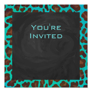 Monogram Teal and Brown Leopard Card