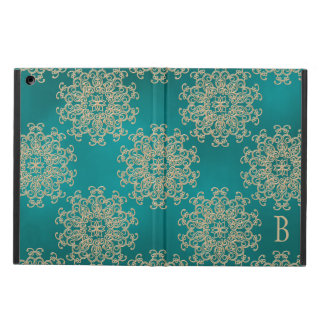 MONOGRAM TEAL AND GOLD INSIAN PATTERN CASE FOR iPad AIR