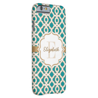 Monogram Teal and Gold Quatrefoil Barely There iPhone 6 Case