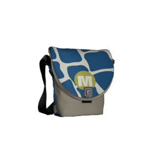 Monogram Teal and Lime Giraffe Pattern Messenger Bag