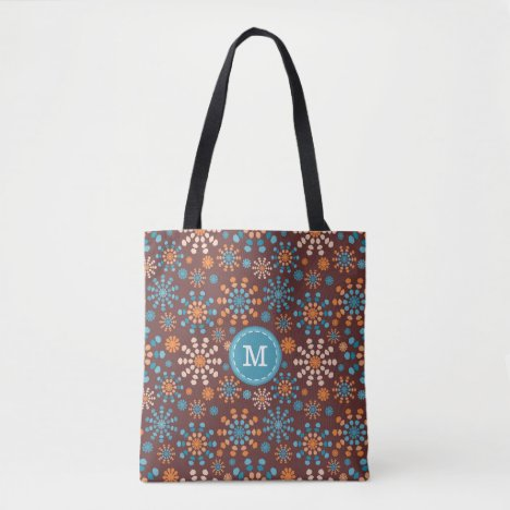 Monogram Teal and Orange fireworks bursts Tote Bag