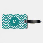 Monogram Teal and White Chevron Pattern Tag For Bags