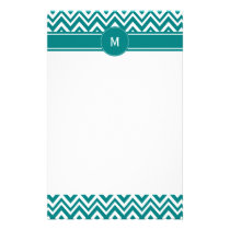 Monogram Teal and White Chevron Pattern Stationery