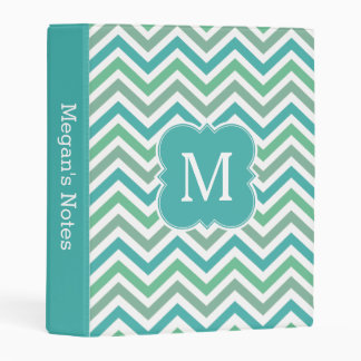Monogram Teal Aqua Blue Chevron Planner Mini Binder