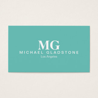 Monogram Teal Background Business Card