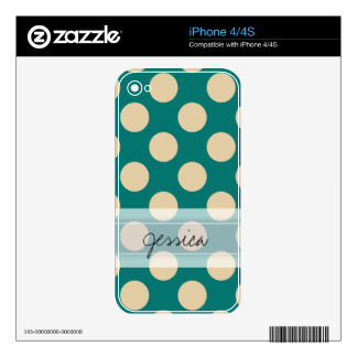 Monogram Teal Beige Chic Polka Dot Pattern Decals For iPhone 4