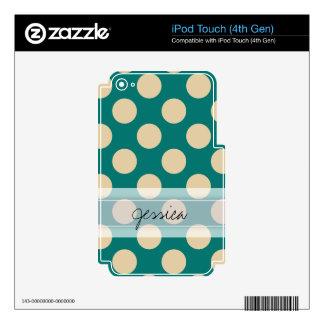 Monogram Teal Beige Chic Polka Dot Pattern iPod Touch 4G Skins