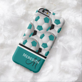 Monogram Teal Black Soccer Ball Pattern Barely There iPhone 6 Case