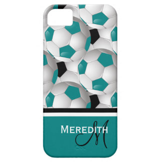 Monogram Teal Black Soccer Ball Pattern iPhone 5 Cover